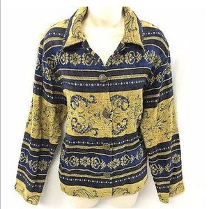Cardigan Blue Beads Gold Button Down Made in India